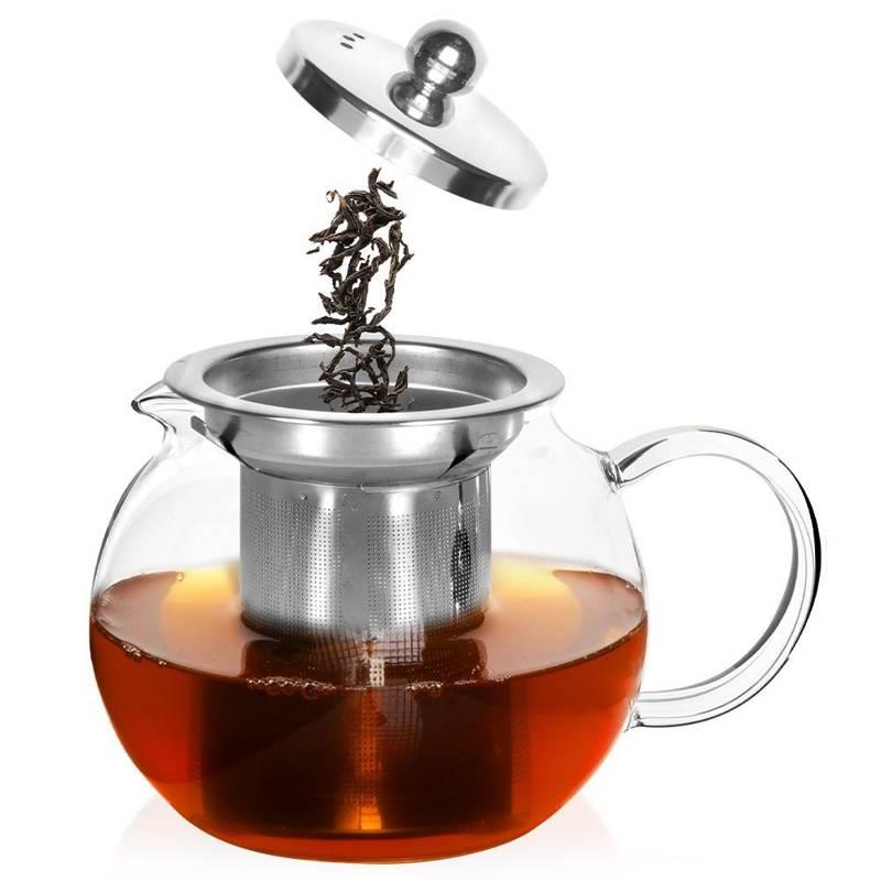 Glaskanne Glaskrug Teekanne mit Teesieb Teefilter 0,8l